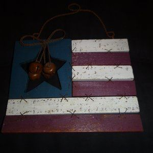 Rustic Wooden & Metal USA American Flag Wall Art